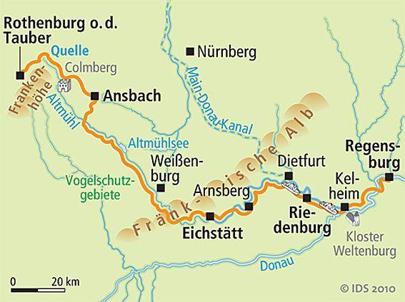 Altmühltalradweg Karte